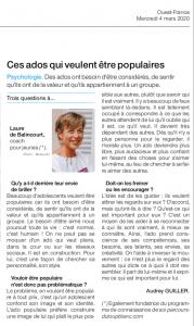 Ouest-France/ Ces ados qui veulent être populaires/ Intw Laure de Balincourt, coach pour jeunes par Audrey Guiller